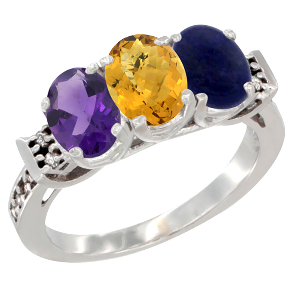 14K White Gold Natural Amethyst, Whisky Quartz & Lapis Ring 3-Stone 7x5 mm Oval Diamond Accent, sizes 5 - 10
