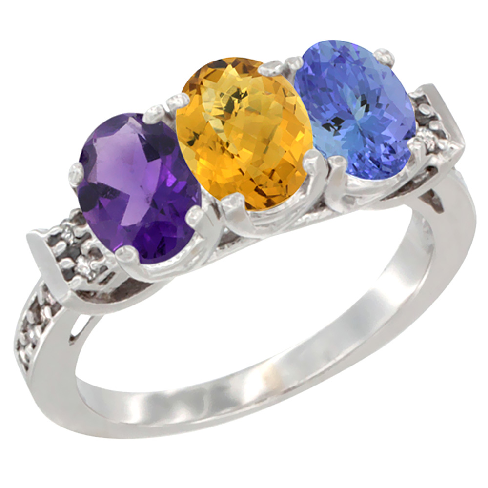 14K White Gold Natural Amethyst, Whisky Quartz & Tanzanite Ring 3-Stone 7x5 mm Oval Diamond Accent, sizes 5 - 10