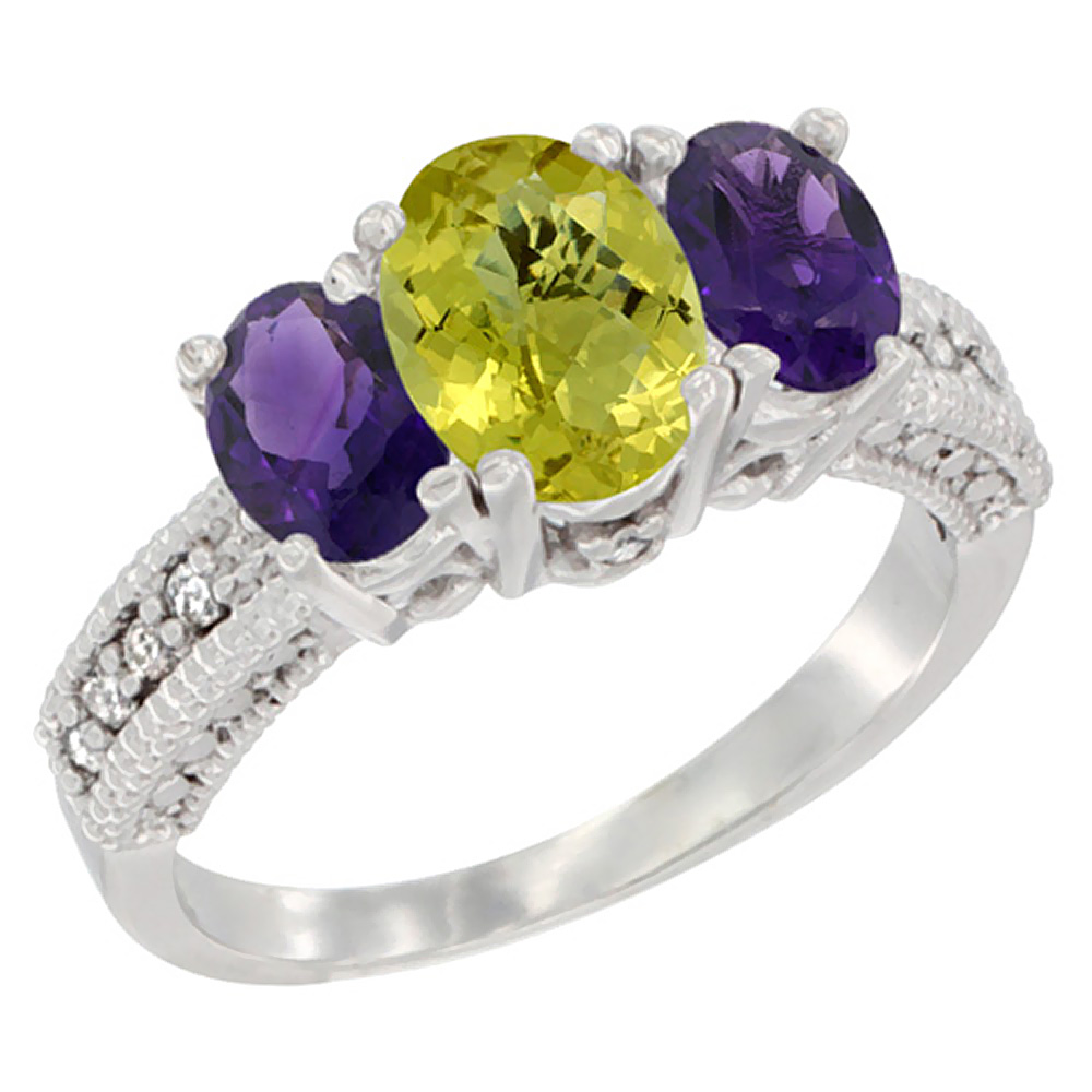 14k Yellow Gold Ladies Oval Natural Lemon Quartz 3-Stone Ring with Amethyst Sides Diamond Accent