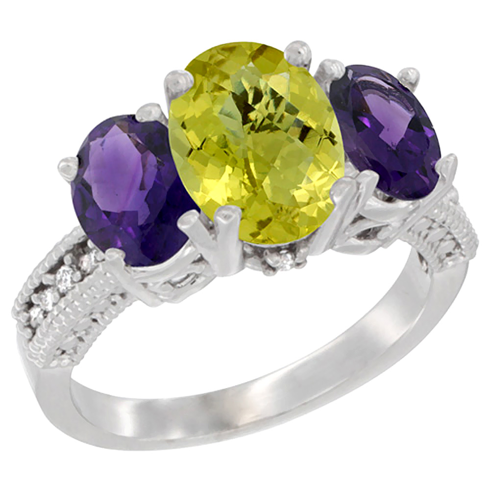 10K White Gold Natural Lemon Quartz Ring Ladies 3-Stone Oval 8x6mm with Amethyst Sides Diamond Accent, sizes 5 - 10