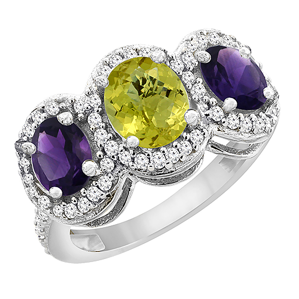 14K White Gold Natural Lemon Quartz & Amethyst 3-Stone Ring Oval Diamond Accent, sizes 5 - 10