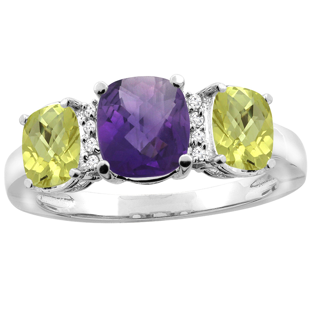 10K White Gold Natural Amethyst & Lemon Quartz 3-stone Ring Cushion 8x6mm Diamond Accent, sizes 5 - 10