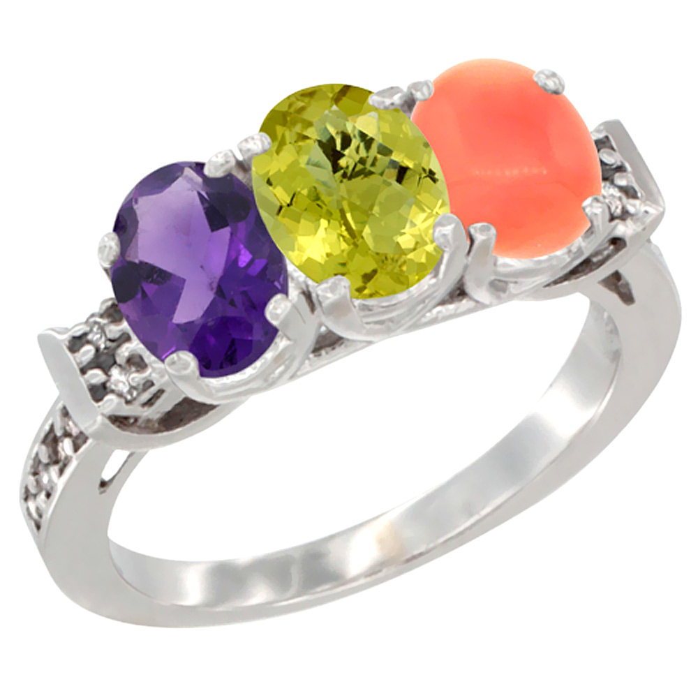 14K White Gold Natural Amethyst, Lemon Quartz & Coral Ring 3-Stone 7x5 mm Oval Diamond Accent, sizes 5 - 10