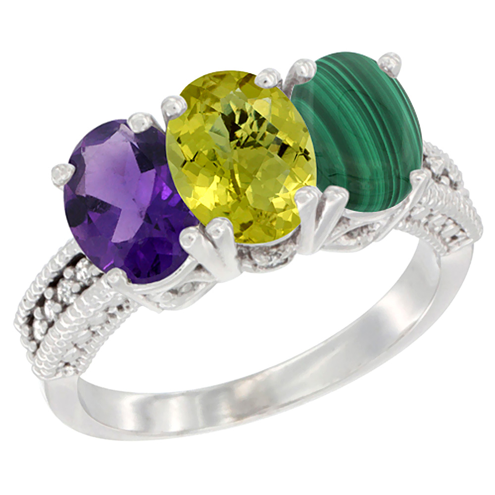 14K White Gold Natural Amethyst, Lemon Quartz & Malachite Ring 3-Stone 7x5 mm Oval Diamond Accent, sizes 5 - 10