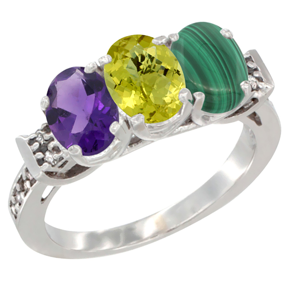 10K White Gold Natural Amethyst, Lemon Quartz & Malachite Ring 3-Stone Oval 7x5 mm Diamond Accent, sizes 5 - 10