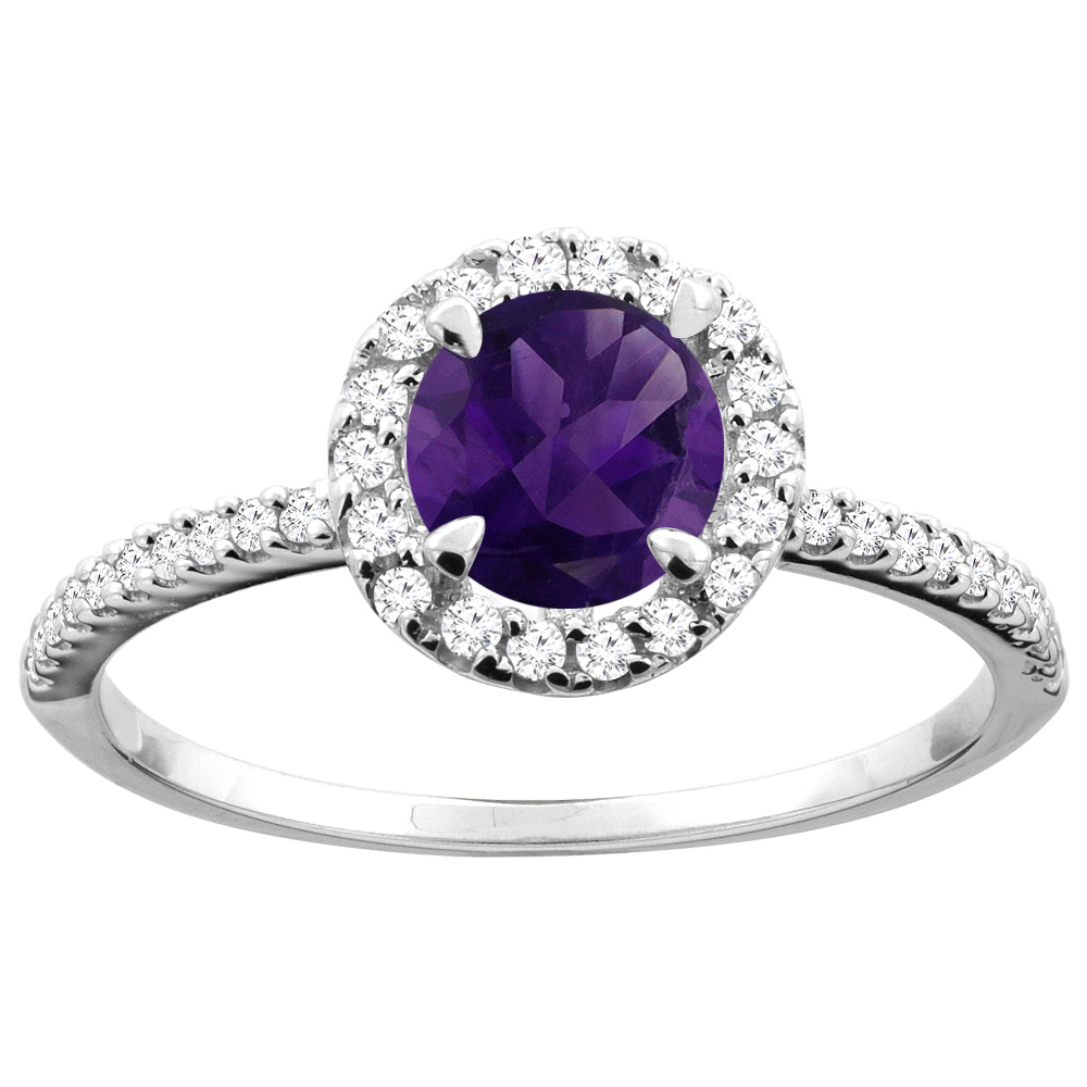 14K Gold Natural Amethyst Ring Round 6mm Diamond Accents, sizes 5 - 10