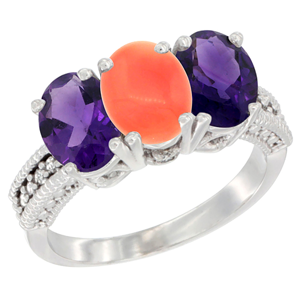 14K White Gold Natural Coral & Amethyst Ring 3-Stone 7x5 mm Oval Diamond Accent, sizes 5 - 10