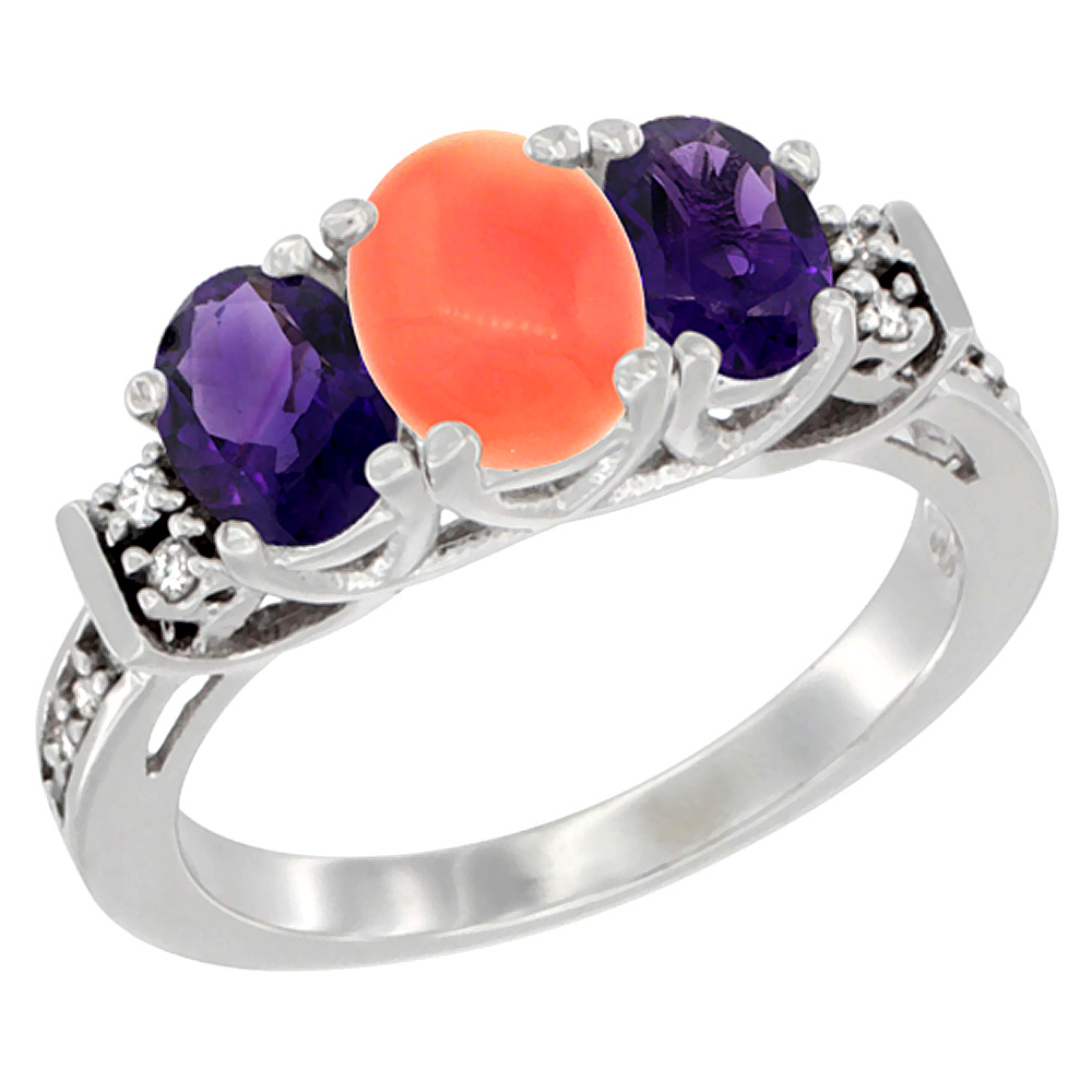 14K White Gold Natural Coral & Amethyst Ring 3-Stone Oval Diamond Accent, sizes 5-10
