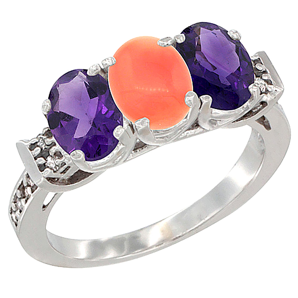 10K White Gold Natural Coral & Amethyst Sides Ring 3-Stone Oval 7x5 mm Diamond Accent, sizes 5 - 10