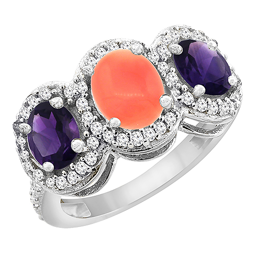 14K White Gold Natural Coral & Amethyst 3-Stone Ring Oval Diamond Accent, sizes 5 - 10