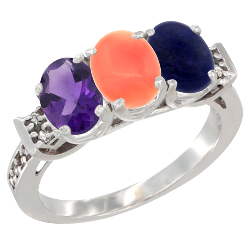 10K White Gold Natural Amethyst, Coral & Lapis Ring 3-Stone Oval 7x5 mm Diamond Accent, sizes 5 - 10