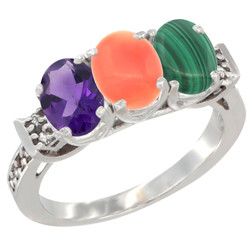 10K White Gold Natural Amethyst, Coral & Malachite Ring 3-Stone Oval 7x5 mm Diamond Accent, sizes 5 - 10