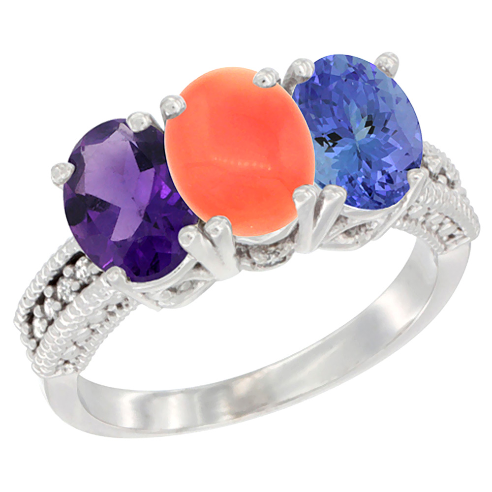 10K White Gold Natural Amethyst, Coral & Tanzanite Ring 3-Stone Oval 7x5 mm Diamond Accent, sizes 5 - 10