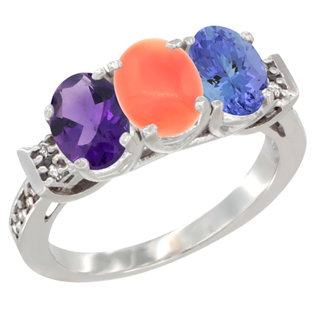14K White Gold Natural Amethyst, Coral & Tanzanite Ring 3-Stone 7x5 mm Oval Diamond Accent, sizes 5 - 10