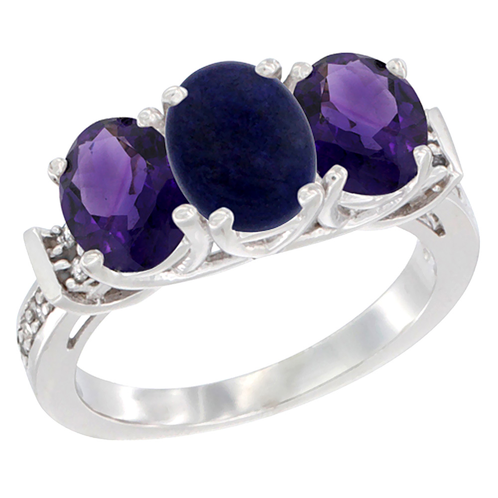 14K White Gold Natural Lapis & Amethyst Sides Ring 3-Stone Oval Diamond Accent, sizes 5 - 10