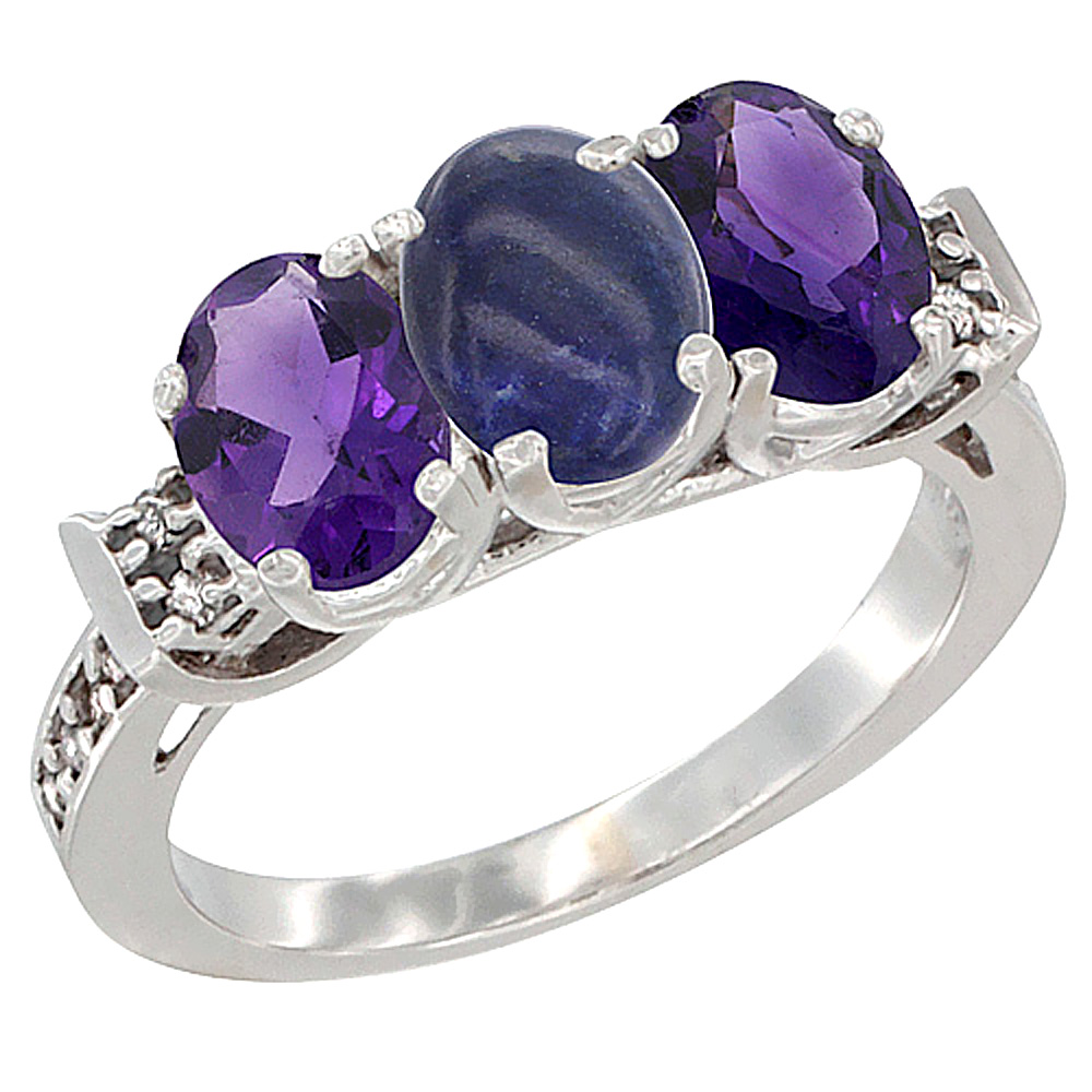 14K White Gold Natural Lapis & Amethyst Sides Ring 3-Stone 7x5 mm Oval Diamond Accent, sizes 5 - 10