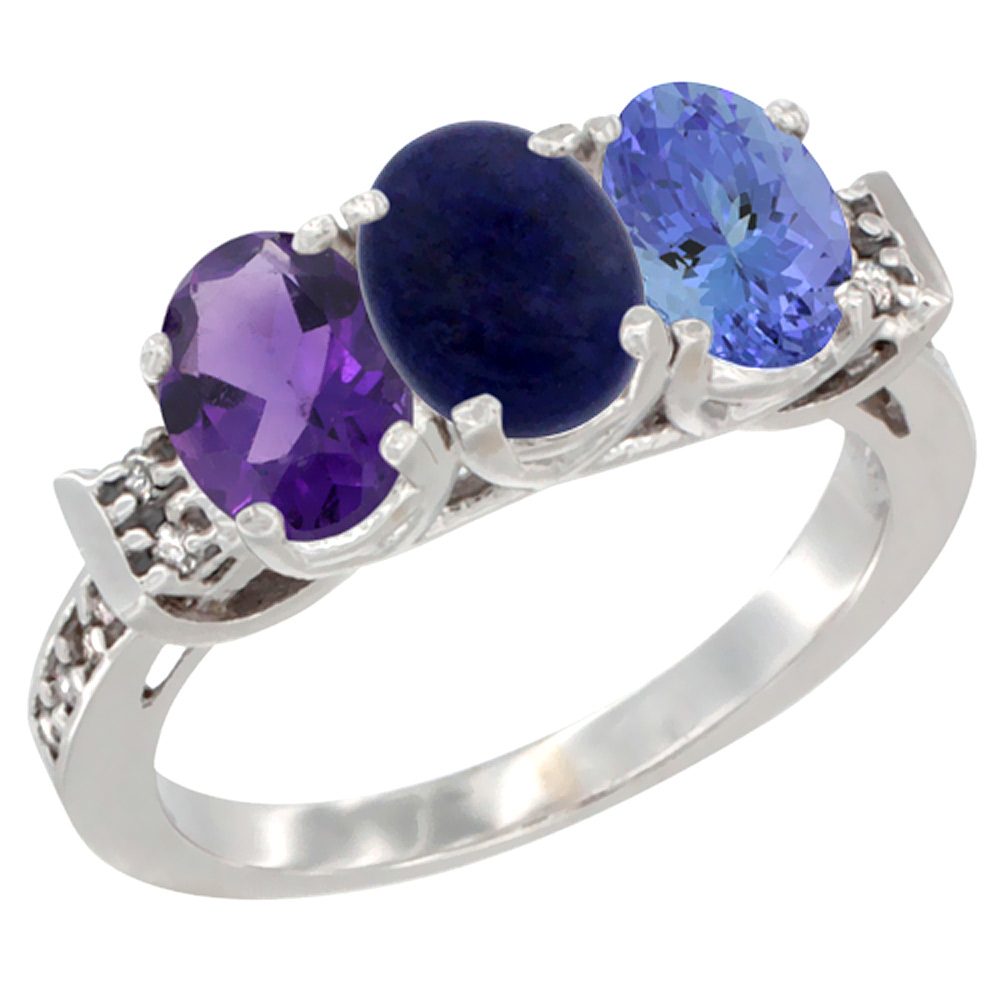 14K White Gold Natural Amethyst, Lapis & Tanzanite Ring 3-Stone 7x5 mm Oval Diamond Accent, sizes 5 - 10