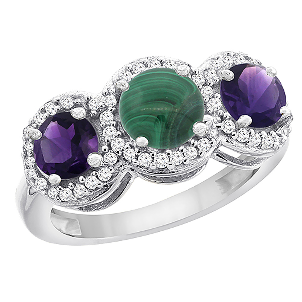 14K White Gold Natural Malachite & Amethyst Sides Round 3-stone Ring Diamond Accents, sizes 5 - 10