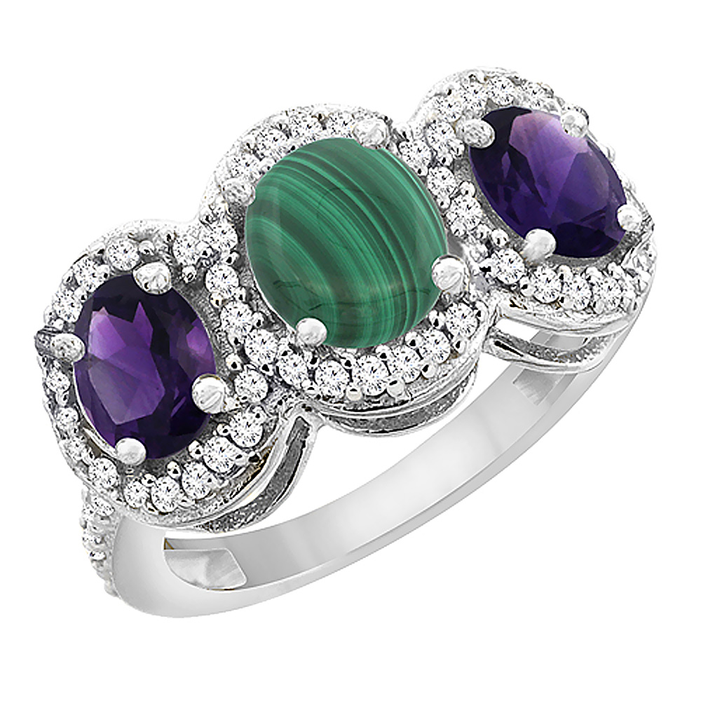 14K White Gold Natural Malachite & Amethyst 3-Stone Ring Oval Diamond Accent, sizes 5 - 10