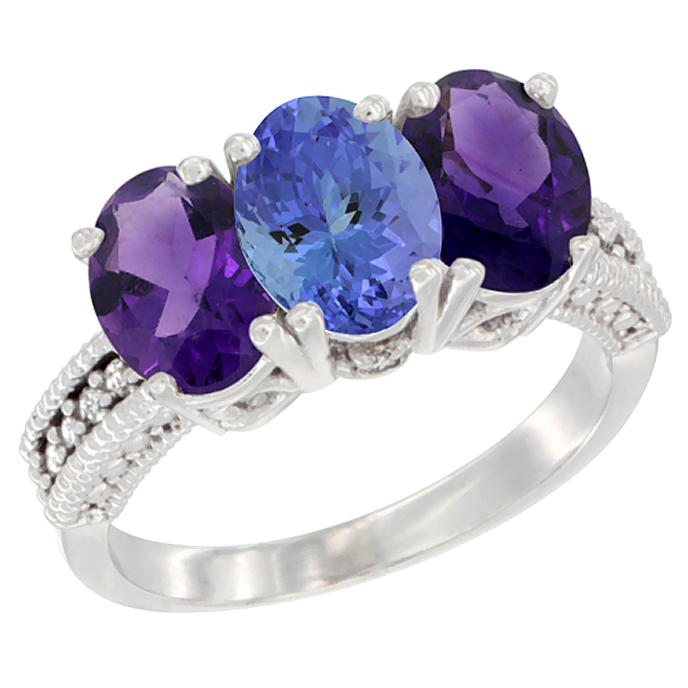 14K White Gold Natural Tanzanite & Amethyst Ring 3-Stone 7x5 mm Oval Diamond Accent, sizes 5 - 10