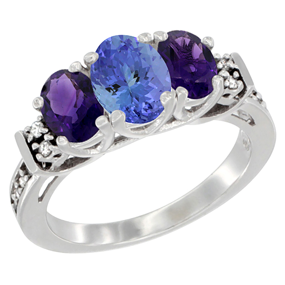 14K White Gold Natural Tanzanite & Amethyst Ring 3-Stone Oval Diamond Accent, sizes 5-10