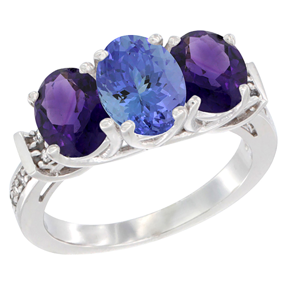 10K White Gold Natural Tanzanite & Amethyst Sides Ring 3-Stone Oval Diamond Accent, sizes 5 - 10