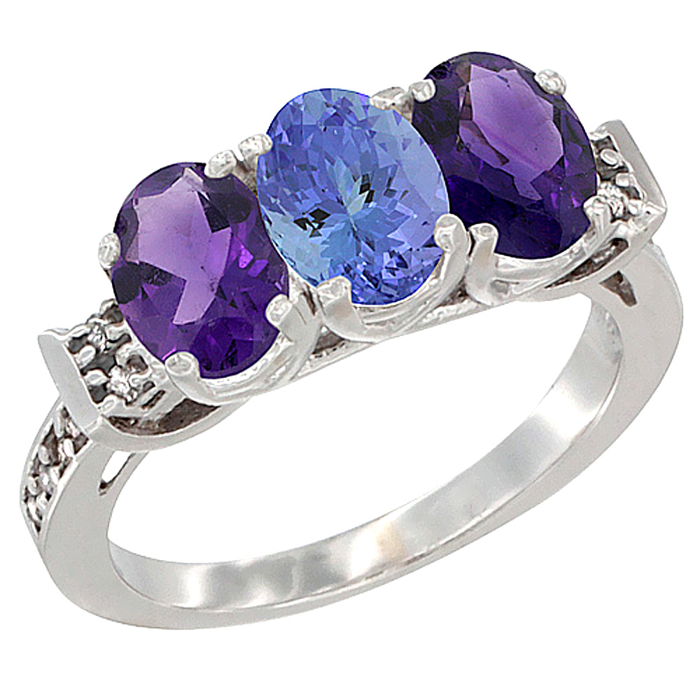 14K White Gold Natural Tanzanite & Amethyst Sides Ring 3-Stone 7x5 mm Oval Diamond Accent, sizes 5 - 10
