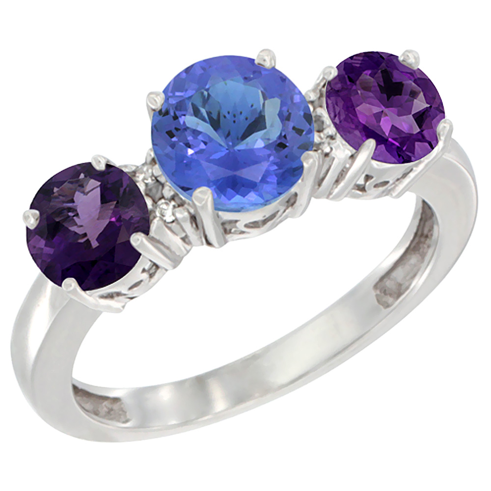 10K White Gold Round 3-Stone Natural Tanzanite Ring & Amethyst Sides Diamond Accent, sizes 5 - 10