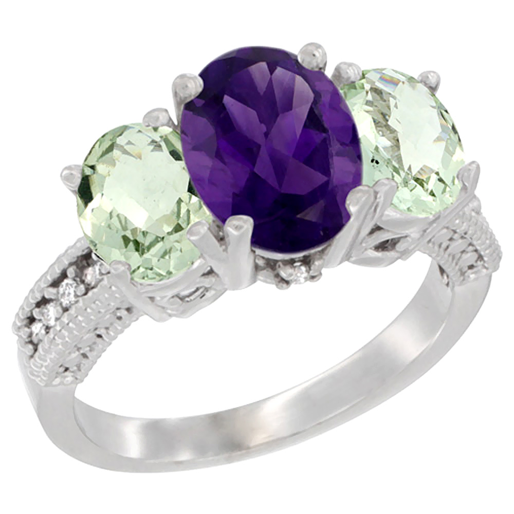 10K White Gold Natural Amethyst Ring Ladies 3-Stone Oval 8x6mm with Green Amethyst Sides Diamond Accent, sizes 5 - 10
