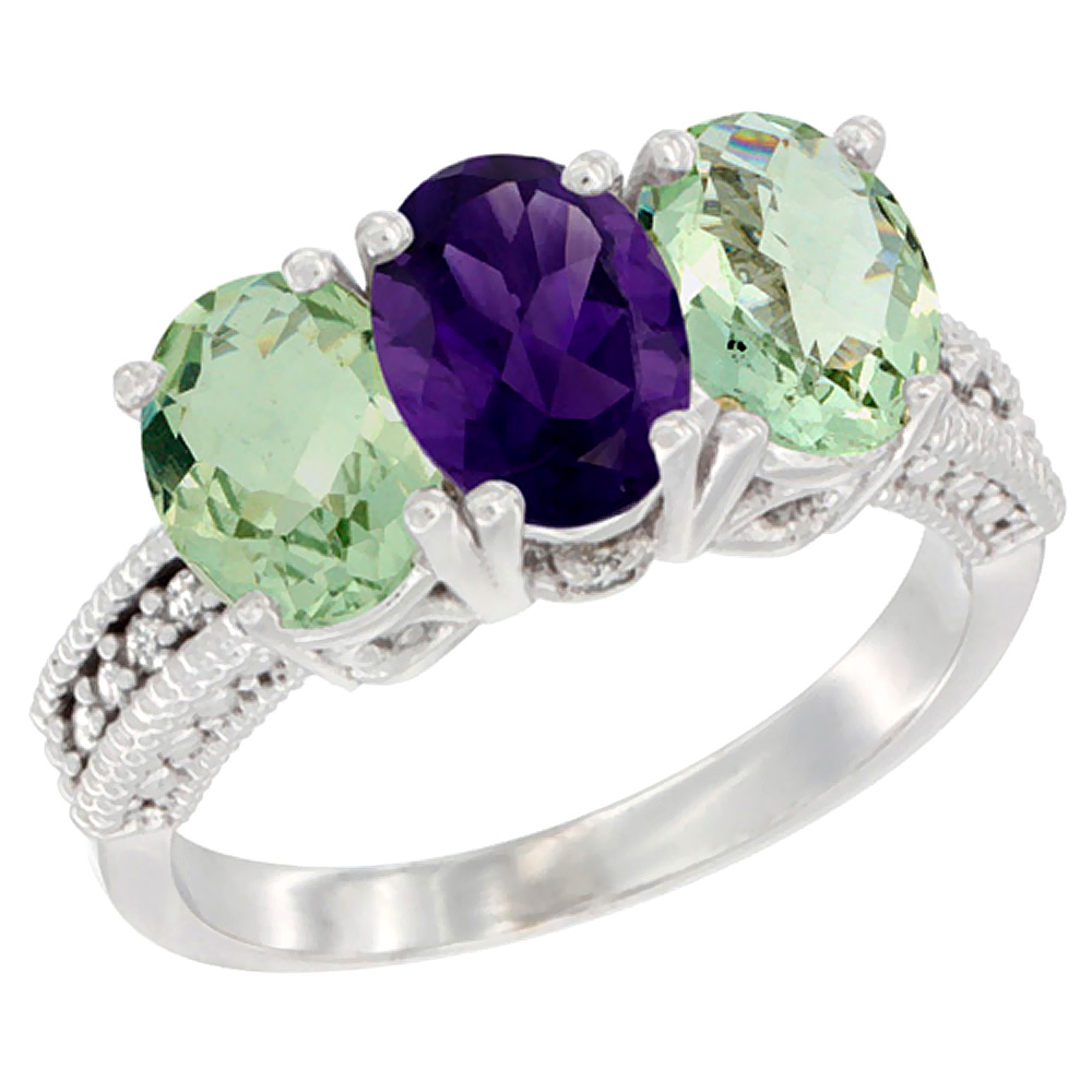 10K White Gold Natural Amethyst & Green Amethyst Sides Ring 3-Stone Oval 7x5 mm Diamond Accent, sizes 5 - 10