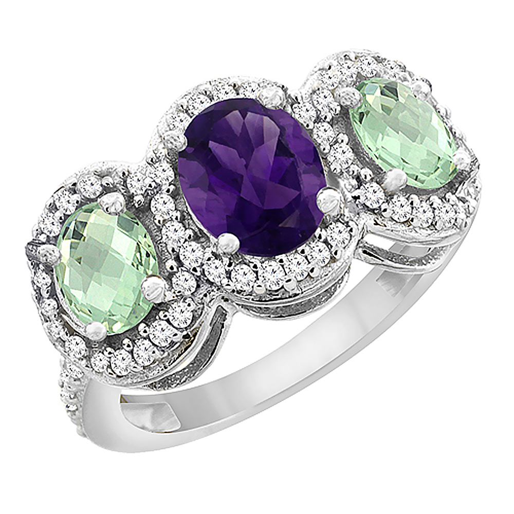 10K White Gold Natural Amethyst & Green Amethyst 3-Stone Ring Oval Diamond Accent, sizes 5 - 10
