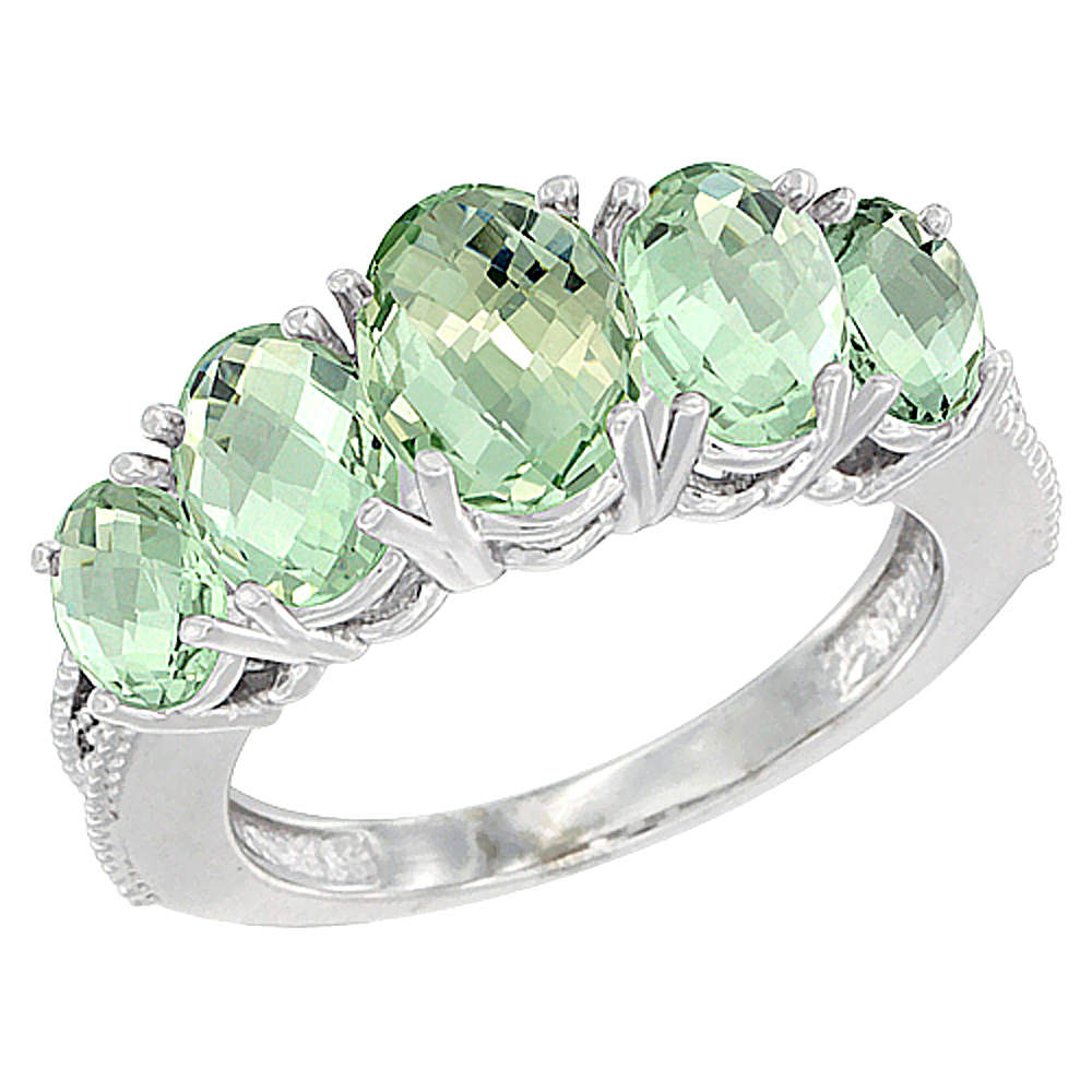 14K White Gold Diamond Natural Green Amethyst Ring 5-stone Oval 8x6 Ctr,7x5,6x4 sides, sizes 5 - 10