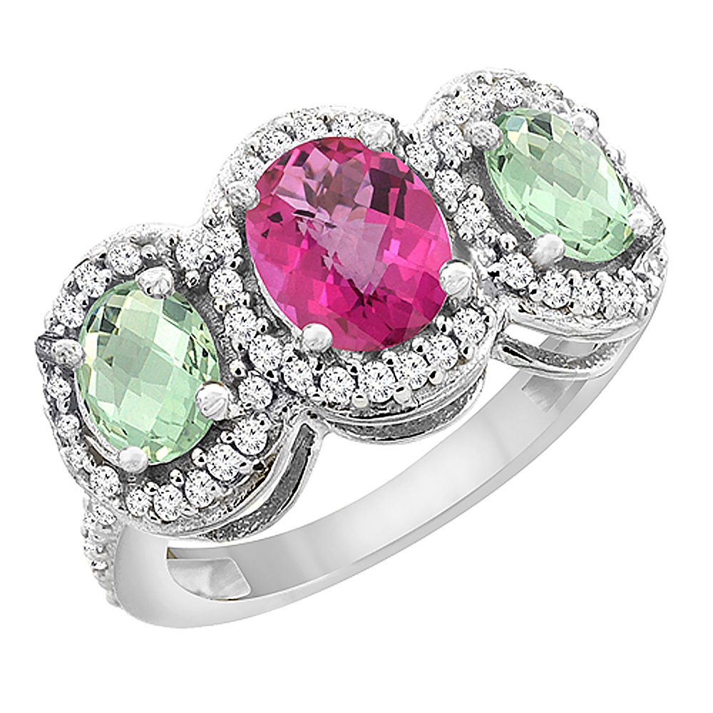 10K White Gold Natural Pink Sapphire & Green Amethyst 3-Stone Ring Oval Diamond Accent, sizes 5 - 10