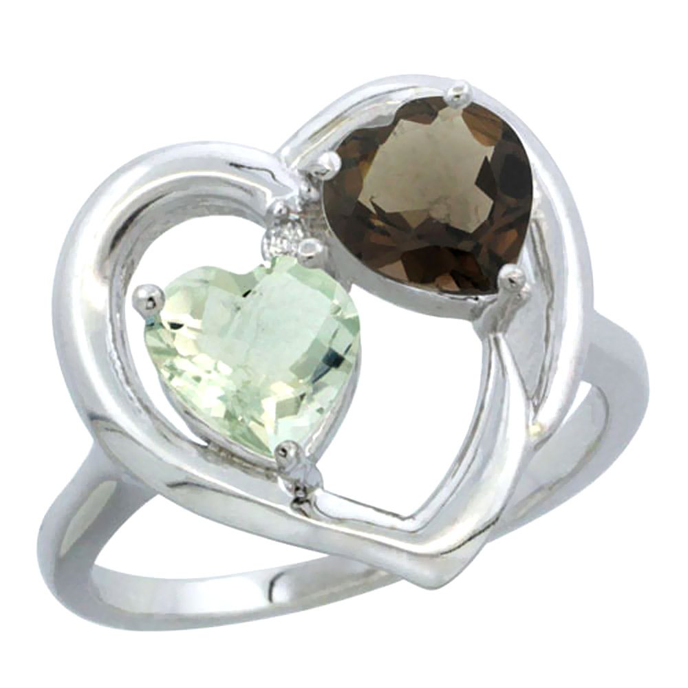 14K White Gold Diamond Two-stone Heart Ring 6mm Natural Green Amethyst & Smoky Topaz, sizes 5-10