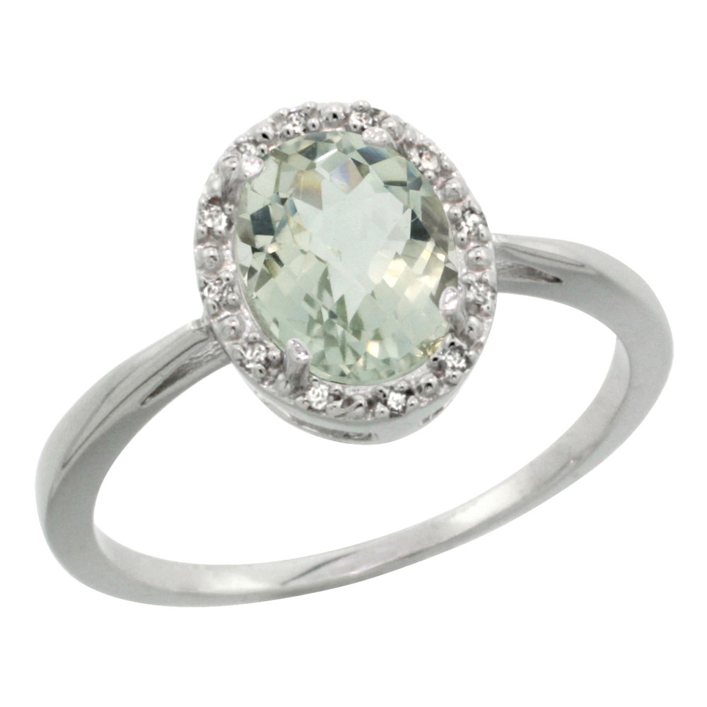 10K White Gold Natural Green Amethyst Diamond Halo Ring Oval 8X6mm, sizes 5-10