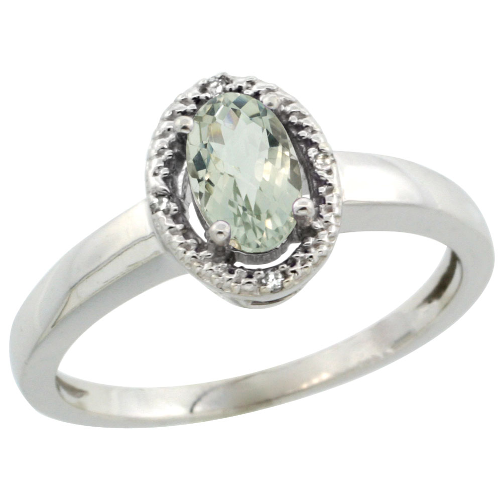 10K White Gold Diamond Halo Natural Green Amethyst Engagement Ring Oval 6X4 mm, sizes 5-10