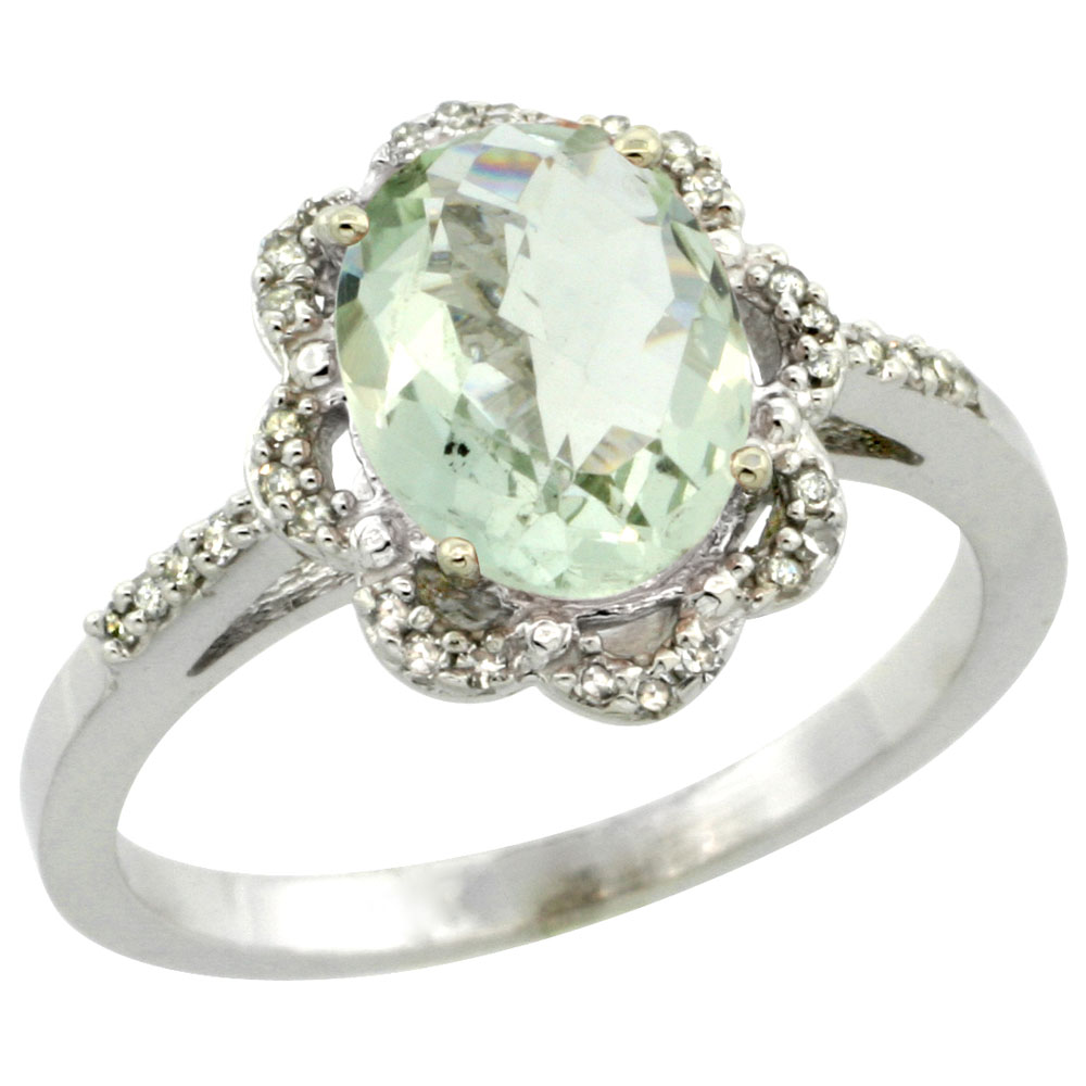 14K White Gold Diamond Halo Natural Green Amethyst Engagement Ring Oval 9x7mm, sizes 5-10