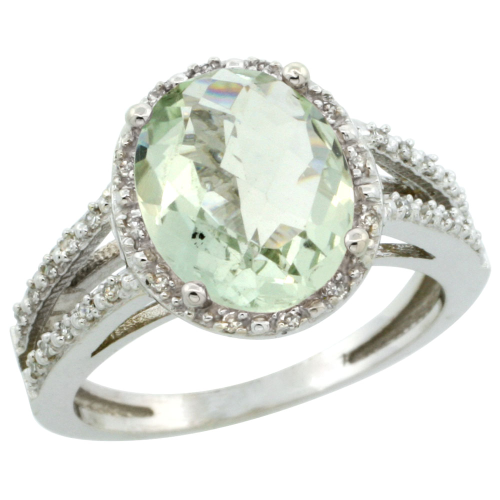 14K White Gold Natural Green Amethyst Diamond Halo Ring Oval 11x9mm, sizes 5-10