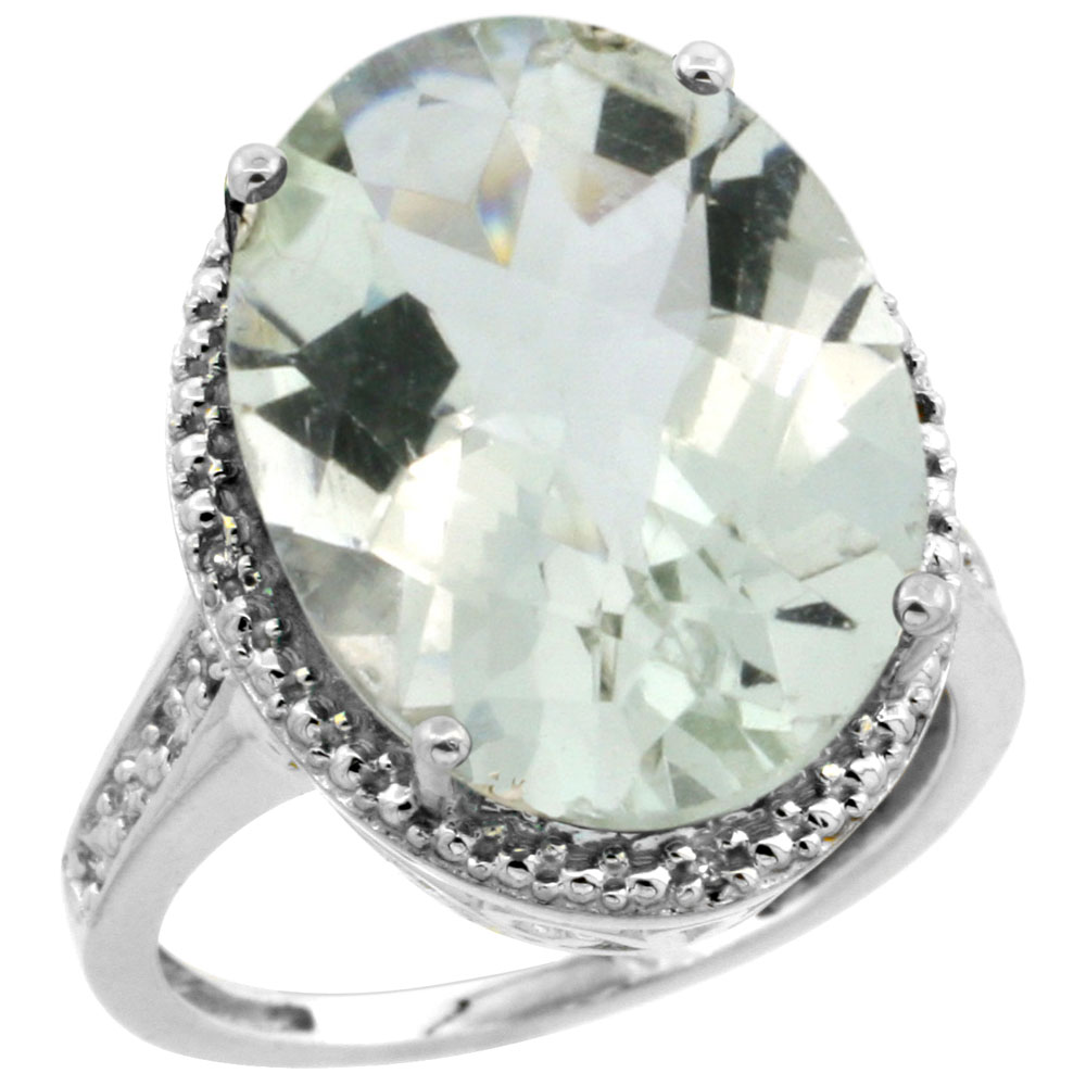 14K White Gold Diamond Natural Green Amethyst Ring Ring Oval 18x13mm, sizes 5-10