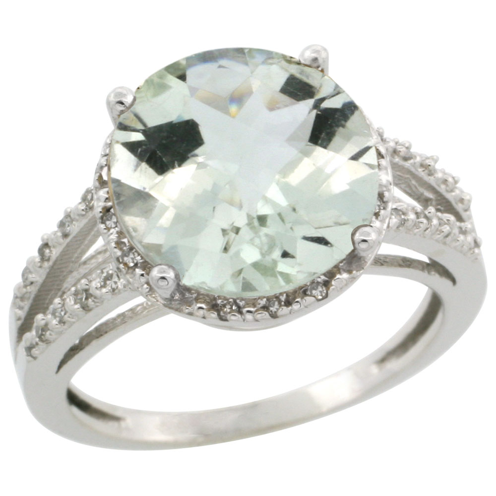 14K White Gold Diamond Natural Green Amethyst Ring Round 11mm, sizes 5-10