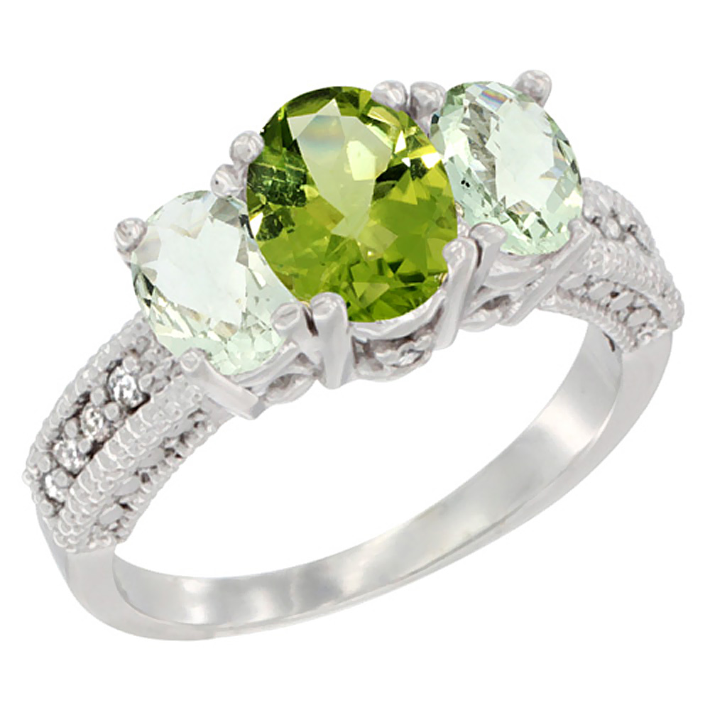 10K White Gold Diamond Natural Peridot Ring Oval 3-stone with Green Amethyst, sizes 5 - 10