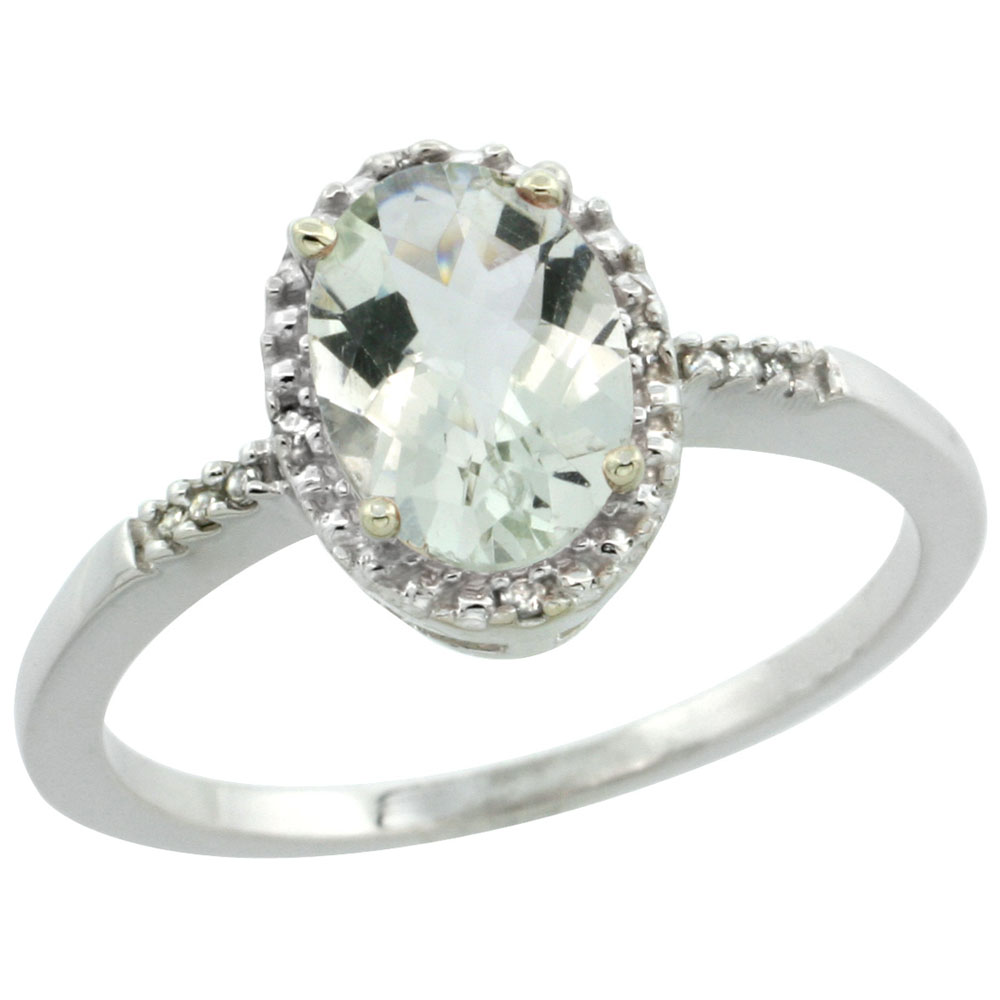 14K White Gold Diamond Natural Green Amethyst Ring Ring Oval 8x6mm, sizes 5-10