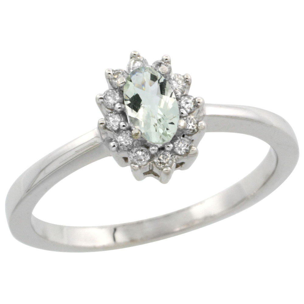 10k White Gold Natural Green Amethyst Ring Oval 5x3mm Diamond Halo, sizes 5-10
