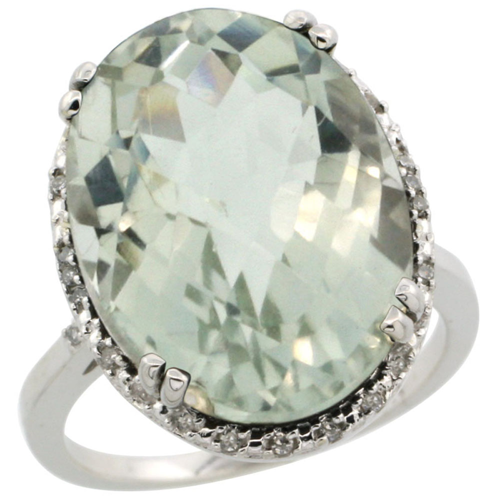 10k White Gold Natural Green Amethyst Ring Large Oval 18x13mm Diamond Halo, sizes 5-10