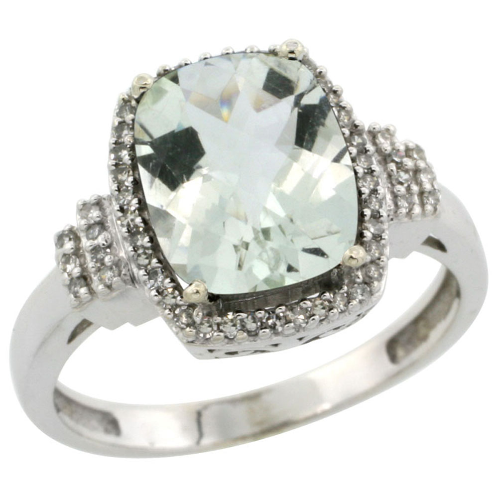 10k White Gold Natural Green Amethyst Ring Cushion-cut 9x7mm Diamond Halo, sizes 5-10