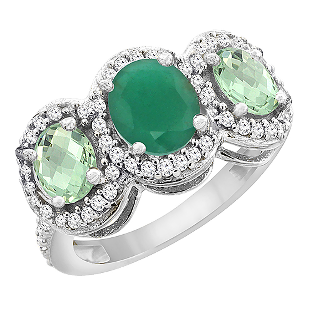 10K White Gold Natural Cabochon Emerald & Green Amethyst 3-Stone Ring Oval Diamond Accent, sizes 5 - 10