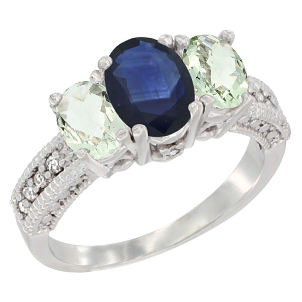14K White Gold Diamond Natural Blue Sapphire Ring Oval 3-stone with Green Amethyst, sizes 5 - 10