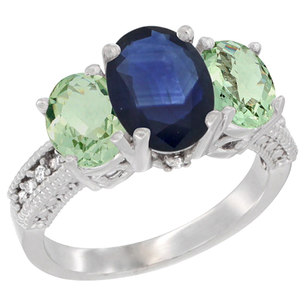10K White Gold Natural Blue Sapphire Ring Ladies 3-Stone Oval 8x6mm with Green Amethyst Sides Diamond Accent, sizes 5 - 10