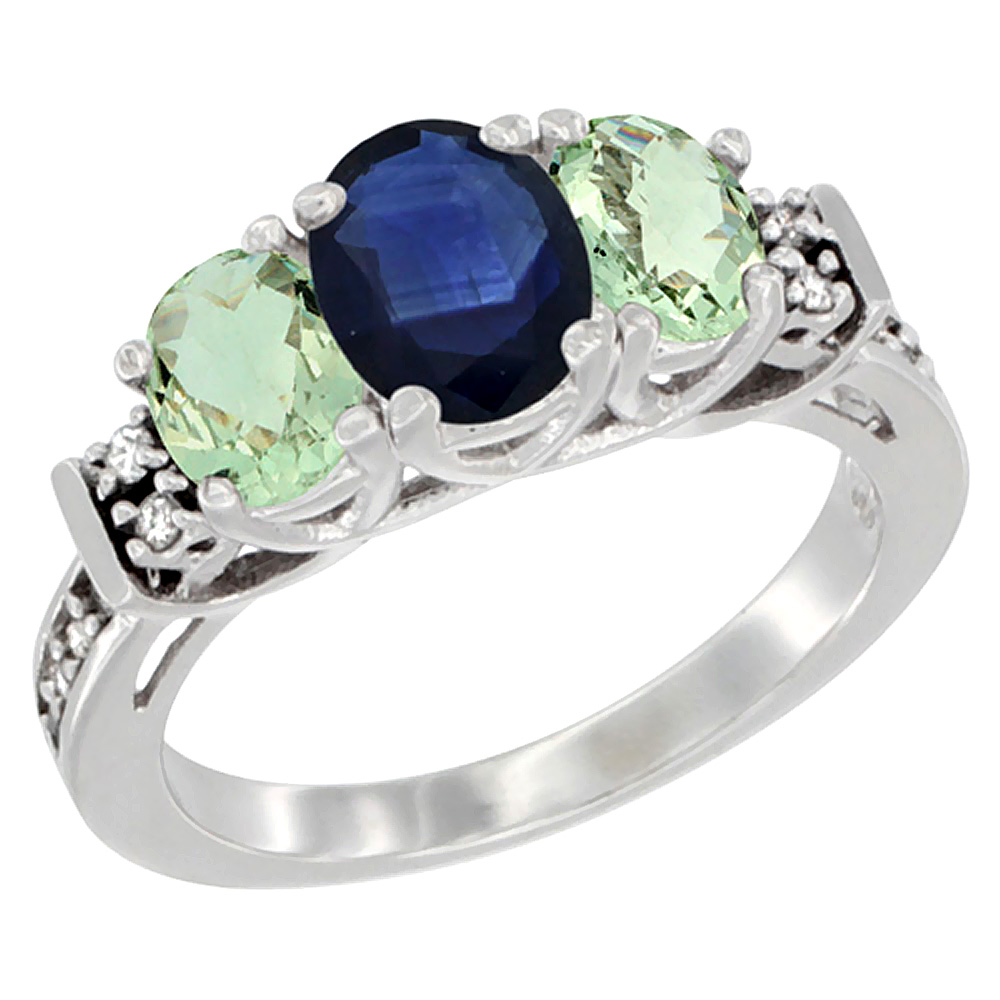 14K White Gold Natural Blue Sapphire & Green Amethyst Ring 3-Stone Oval Diamond Accent, sizes 5-10