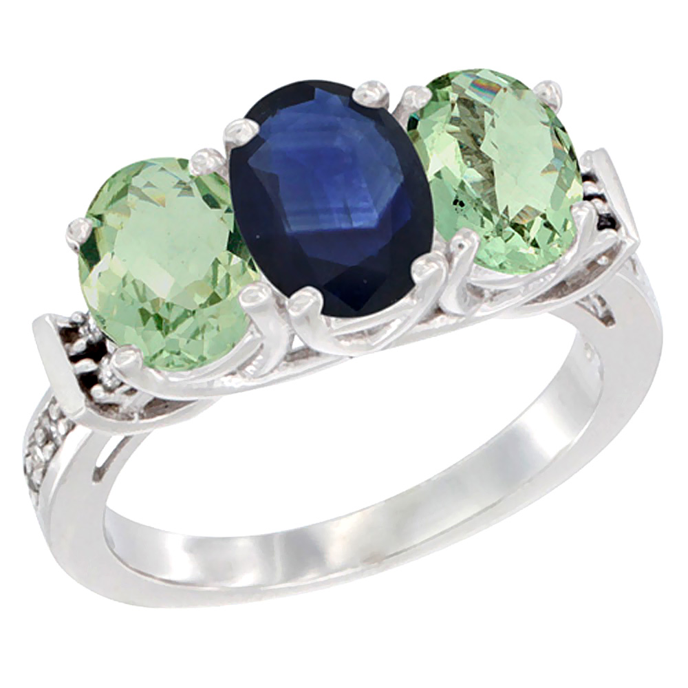 14K White Gold Natural Blue Sapphire & Green Amethyst Sides Ring 3-Stone Oval Diamond Accent, sizes 5 - 10